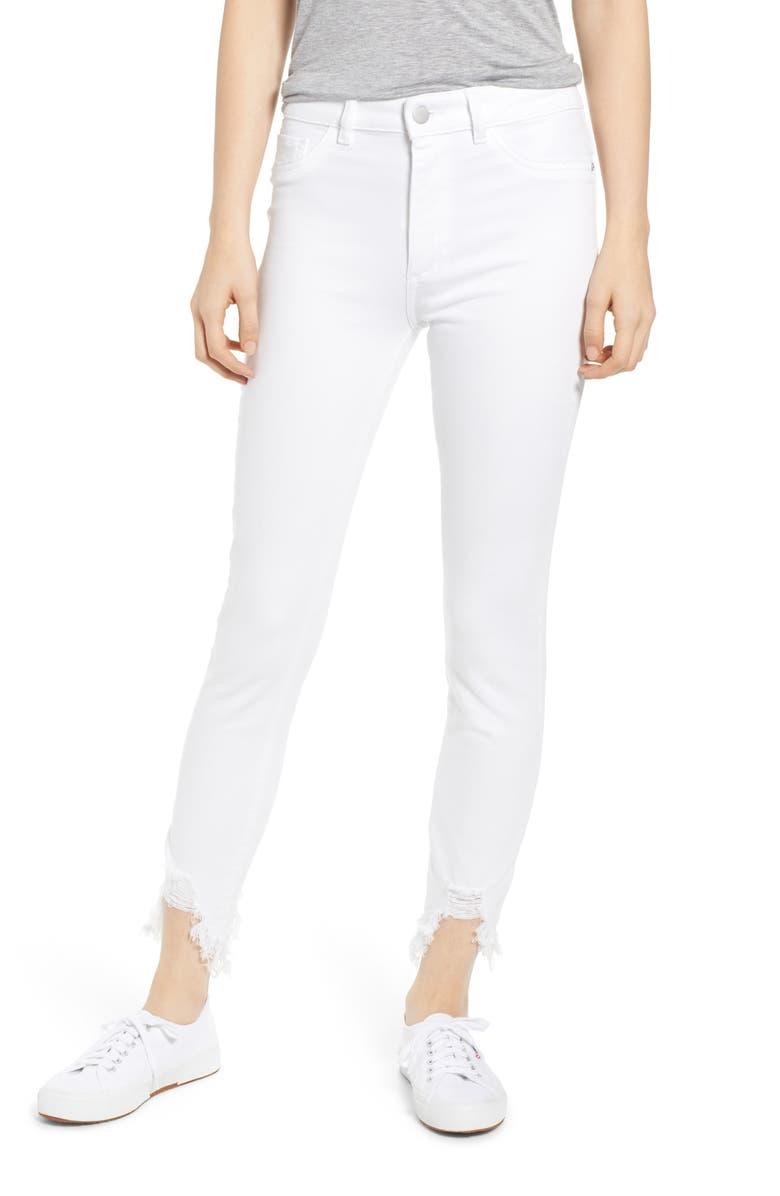 DL1961 Chrissy Ultra High Waist Raw Hem Skinny Jeans, Main, color, KERN
