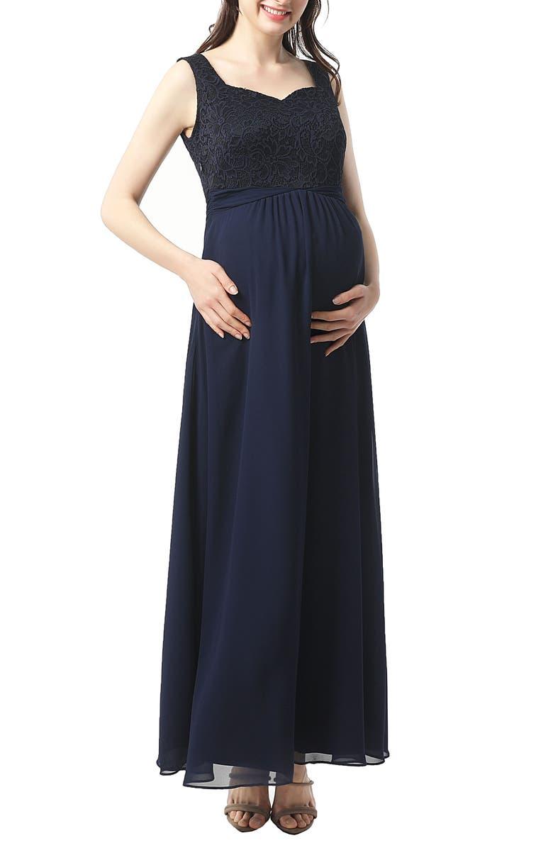 KIMI AND KAI Kyra Empire Waist Maternity Gown, Main, color, NAVY