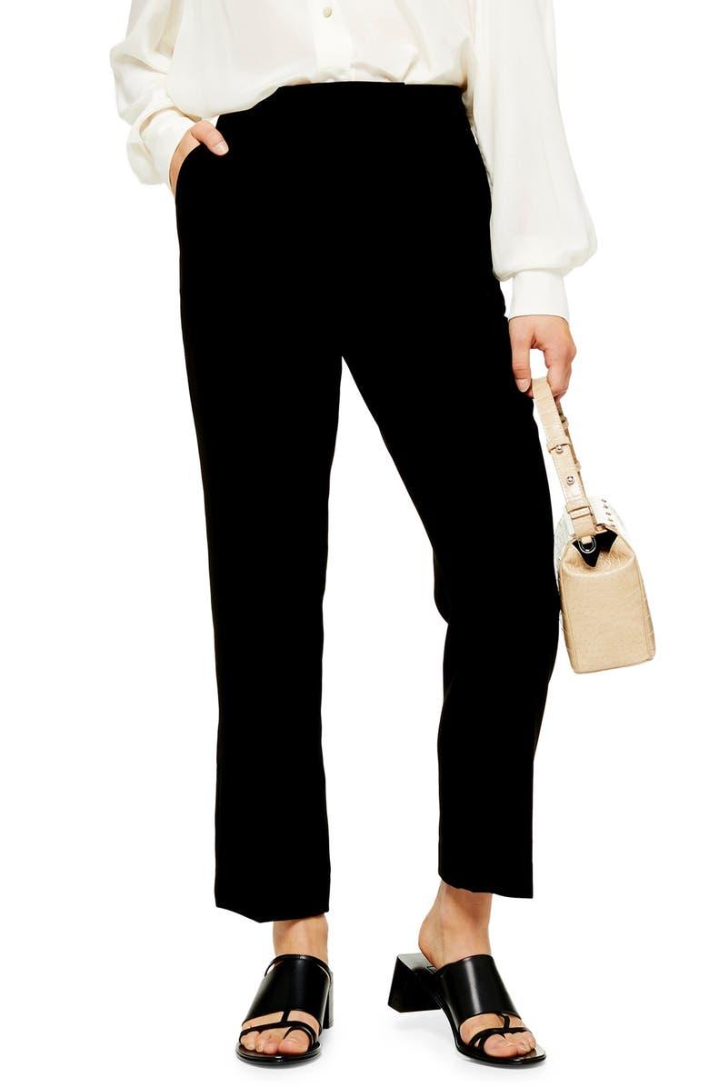 TOPSHOP Straight Leg Cigarette Trousers, Main, color, BLACK