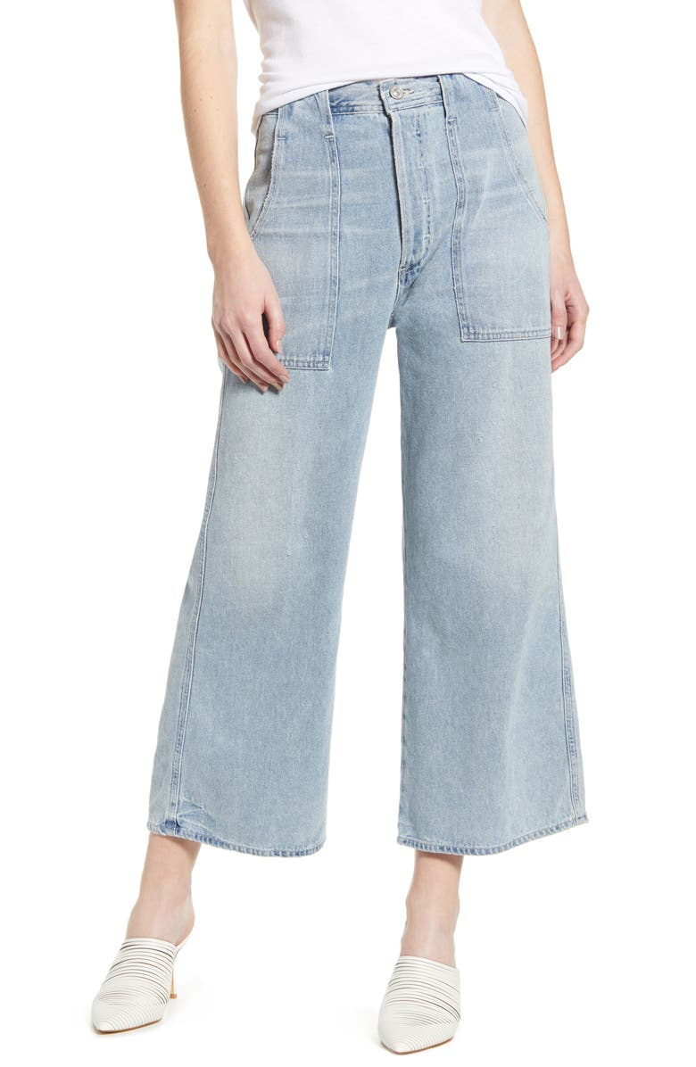 CITIZENS OF HUMANITY Eva Utility Crop Wide Leg Jeans, Main, color, ROVE