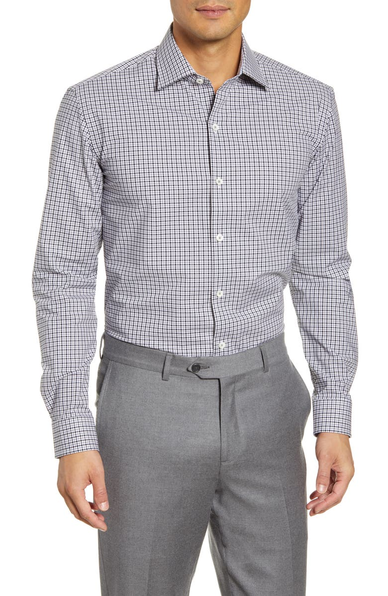 BUGATCHI Trim Fit Stretch Check Dress Shirt, Main, color, PLATINUM