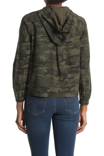Image of Sanctuary Camo Print Hooded Snap Front Utility Jacket