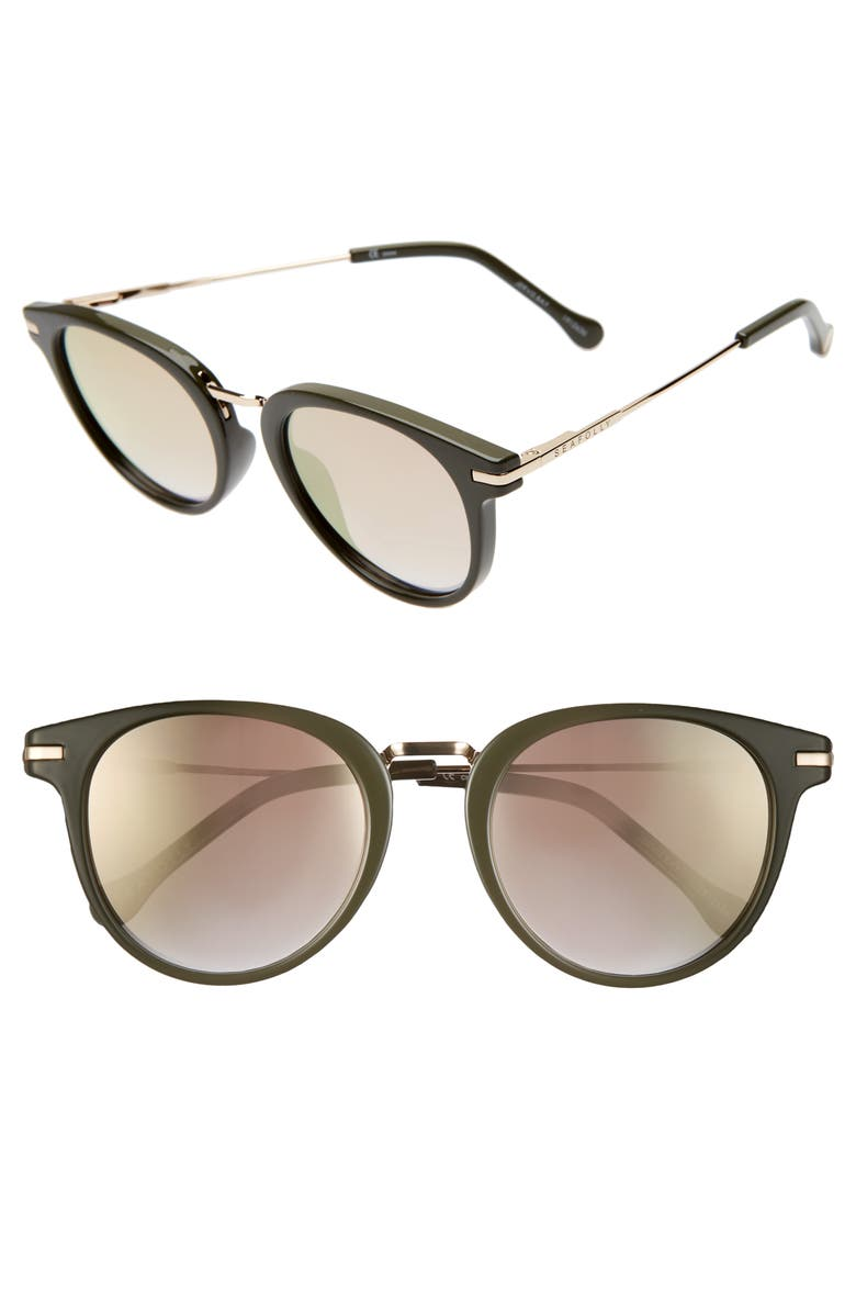 SEAFOLLY Jervis Bay 50mm Sunglasses, Main, color, BLACK/ KHAKI BROWN