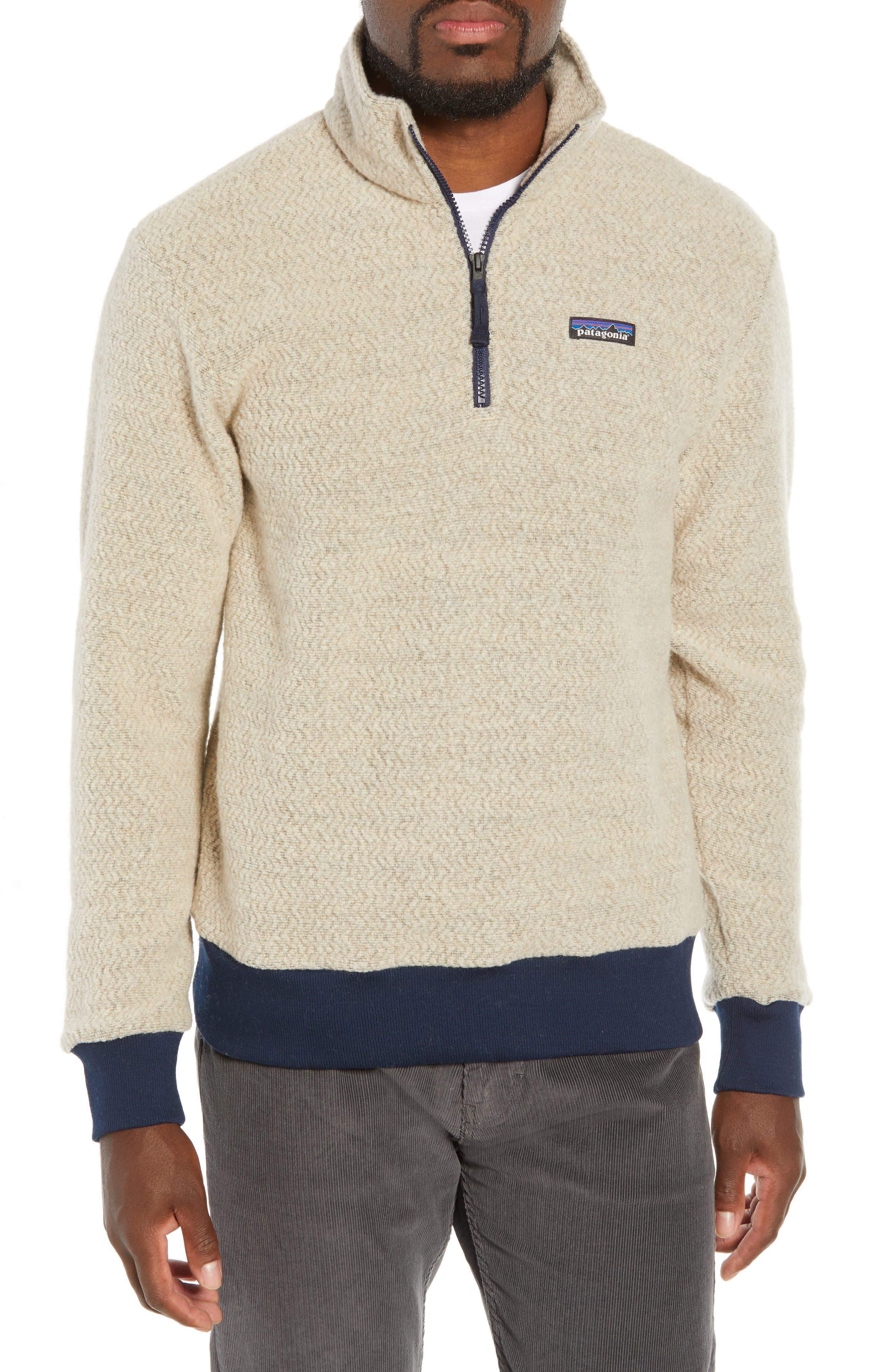 Woolyester Fleece Quarter Zip Pullover, Main, color, OATMEAL HEATHER