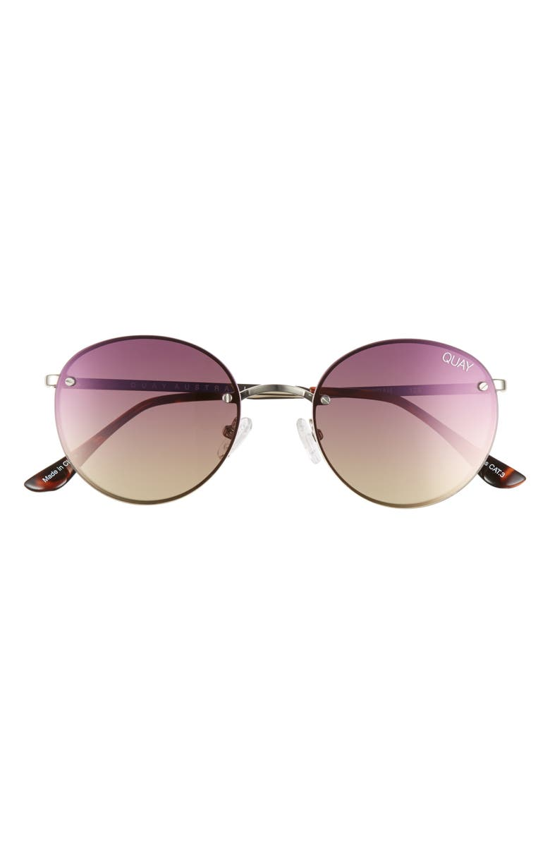 QUAY AUSTRALIA x Elle Ferguson Farrah 53mm Round Sunglasses, Main, color, SILVER/ PURPLE PINK YELLOW