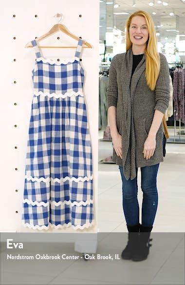 Rickrack Trim Gingham Midi Dress, sales video thumbnail