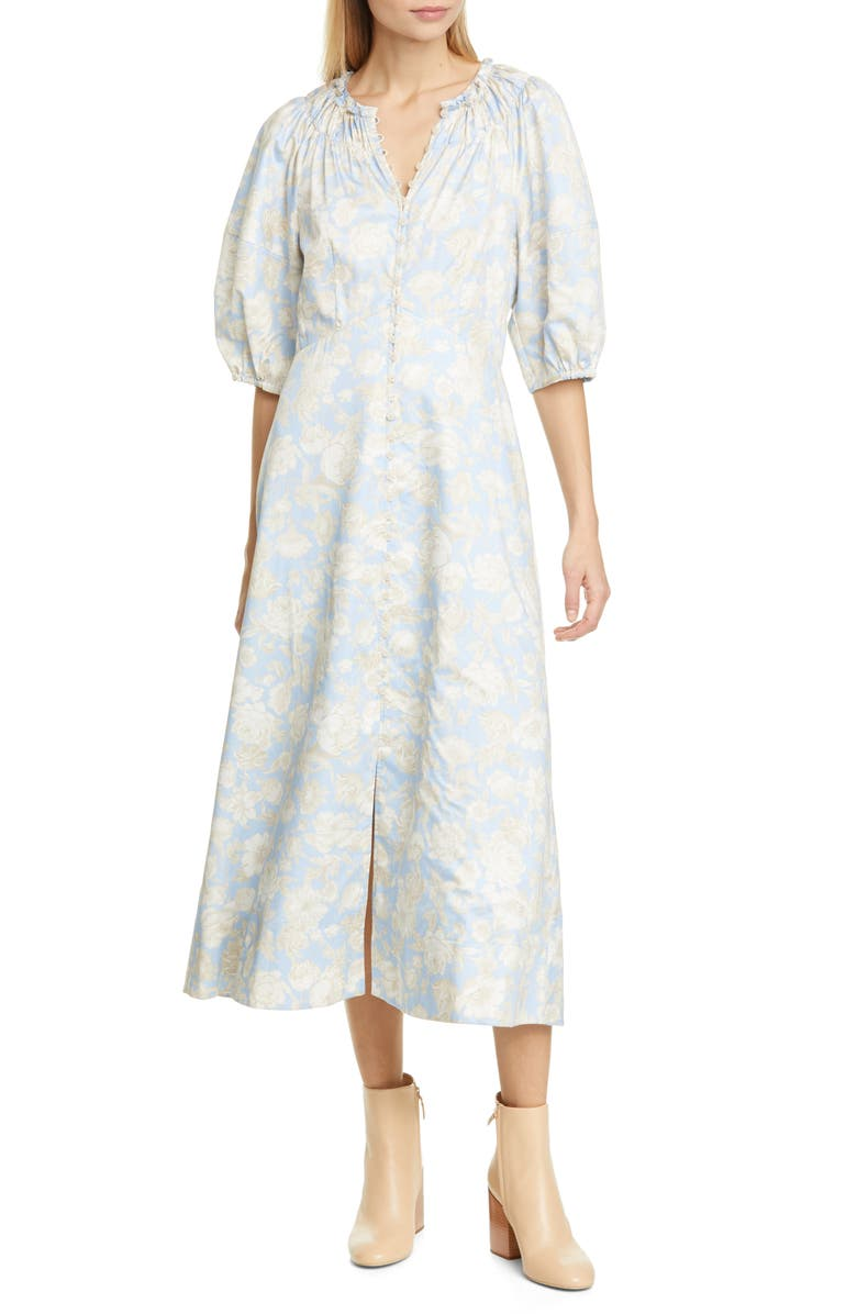 REBECCA TAYLOR Balloon Sleeve Floral Cotton Midi Dress, Main, color, SKY COMBO