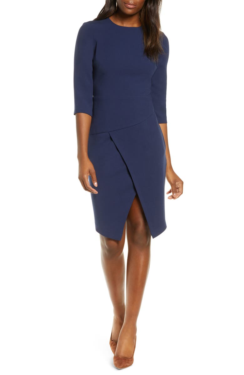 BLACK HALO Kofi Split Hem Sheath Dress, Main, color, PACIFIC BLUE