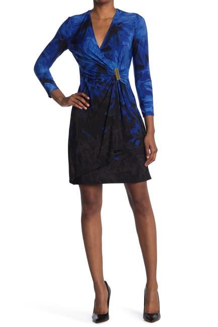 Image of Calvin Klein Gold Bar Floral Ombre Wrap Dress