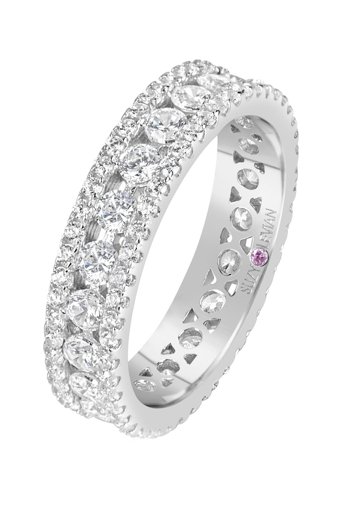 Image of Suzy Levian Sterling Silver CZ White Three Row Modern Eternity Band Ring