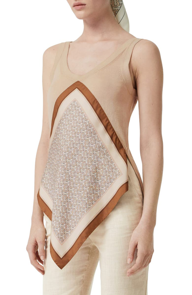 BURBERRY Ruera Monogram Print Silk Panel Wool Top, Main, color, 250