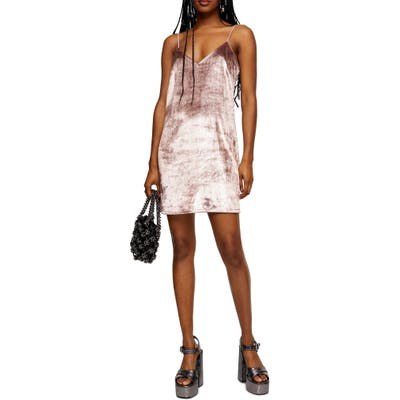 Topshop Glitter Velvet Mini Slipdress, US (fits like 0) - Pink