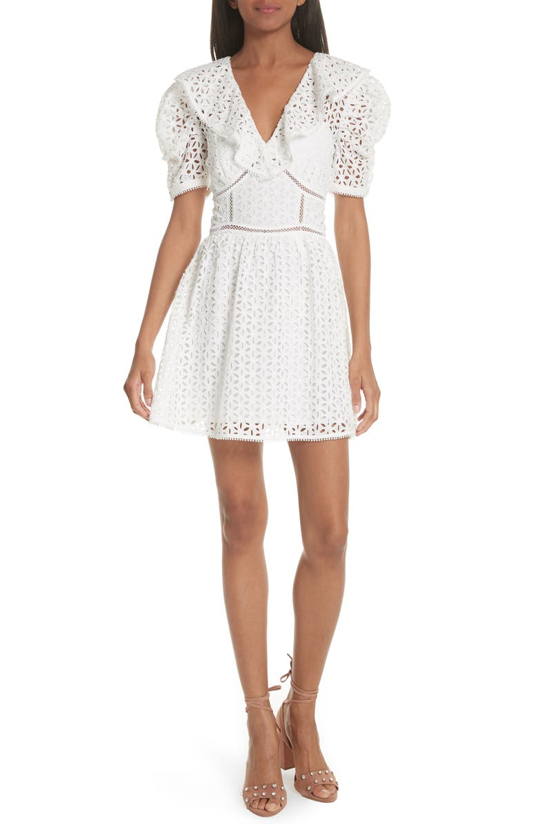 SELF-PORTRAIT Puff Shoulder Broderie Anglaise Dress, Main, color, 100