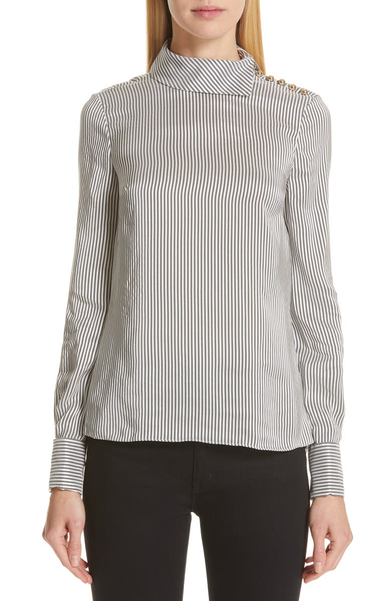 ERDEM Pinstripe Satin Blouse, Main, color, 100