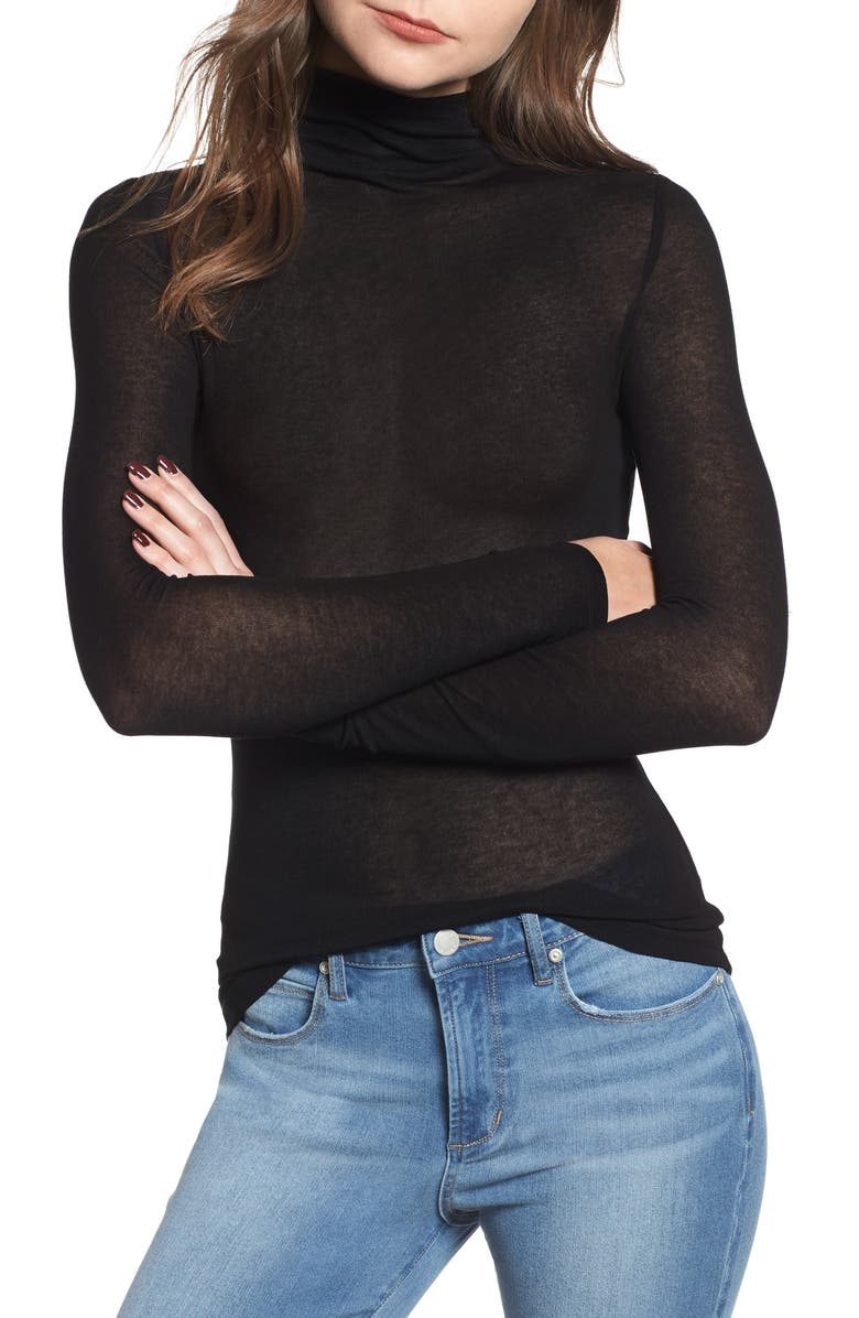 LEITH Lightweight Long Sleeve Funnel Neck Top, Main, color, BLACK