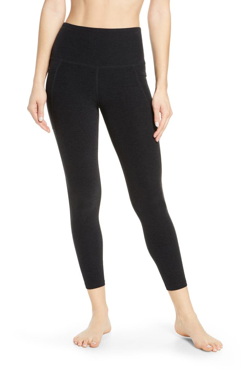 BEYOND YOGA Beyond Space Dye High Waist Pocket Leggings, Main, color, DARKEST NIGHT