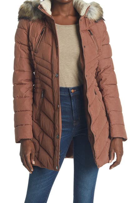 Image of Laundry By Shelli Segal Faux Fur Trimmed Cinched Waist Puffer Jacket