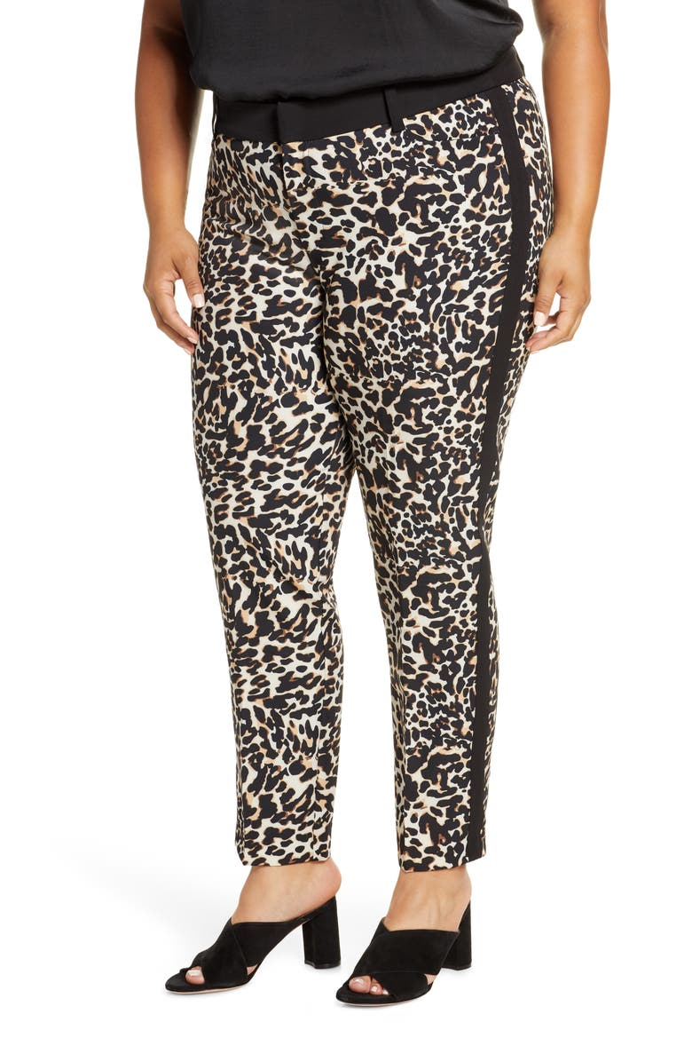 ELOQUII Kady Leopard Print Trousers, Main, color, 200