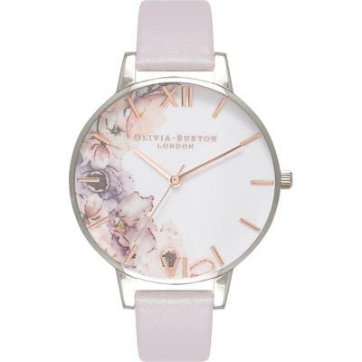 Olivia Burton Watercolour Florals Leather Strap Watch,