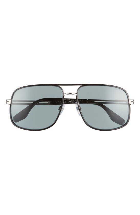 Marc Jacobs 60mm Aviator Sunglasses In Ruthenium Black/ Green
