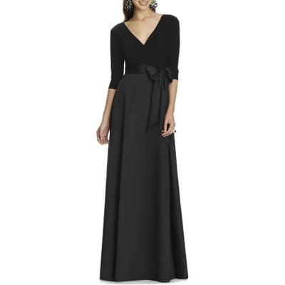 Plus Size Alfred Sung Jersey & Mikado A-Line Gown, Black