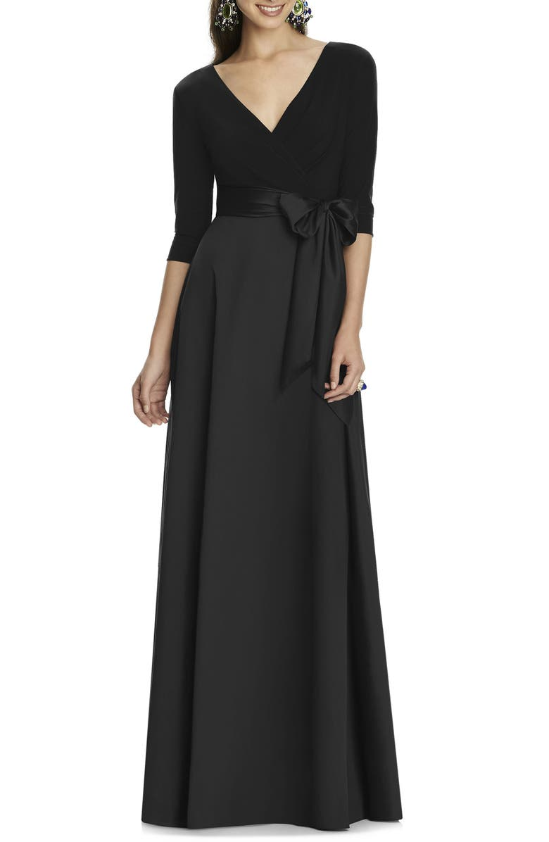 ALFRED SUNG Jersey & Mikado A-Line Gown, Main, color, BLACK
