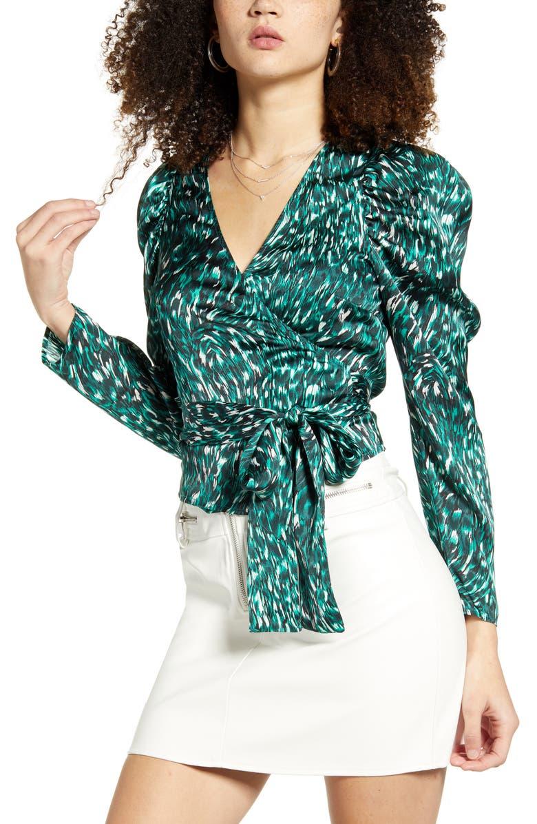 LEITH Puff Sleeve Wrap Top, Main, color, GREEN BUG SWIRL CAT