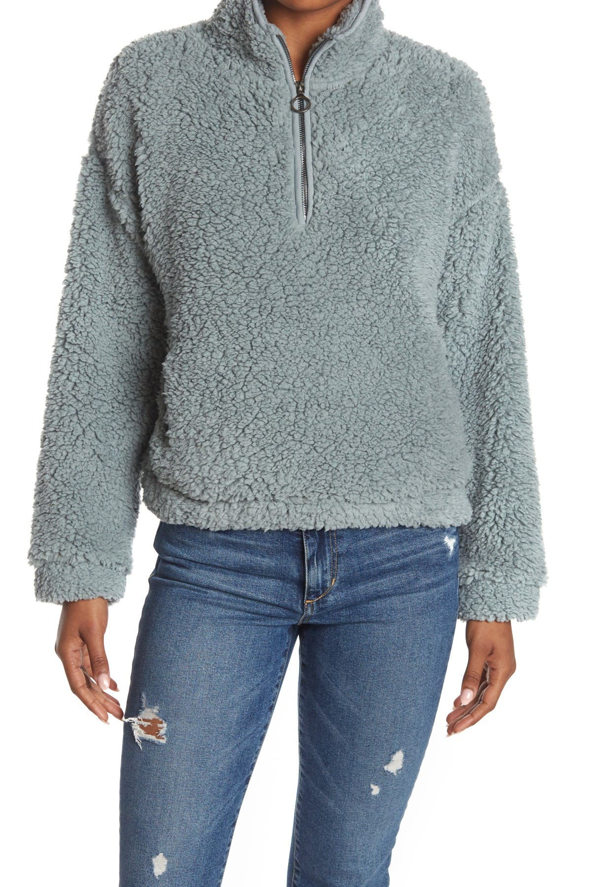 Image of THREAD AND SUPPLY O-Ring 1/4 Zip Faux Shearling Jacket