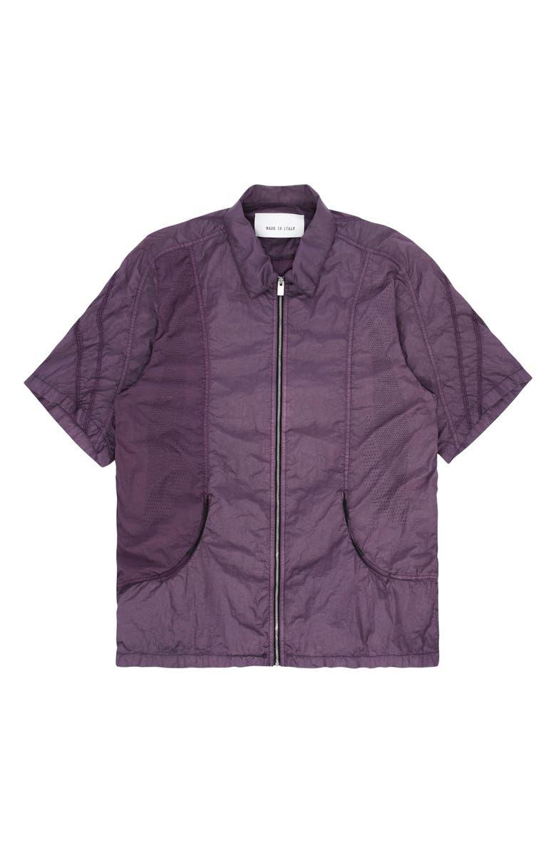 1017 ALYX 9SM Short Sleeve Grid Shirt, Main, color, PURPLE