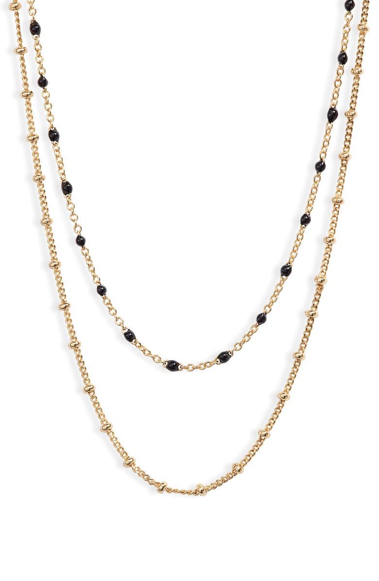 GORJANA Capri Layered Necklace, Main, color, BLACK ENAMEL