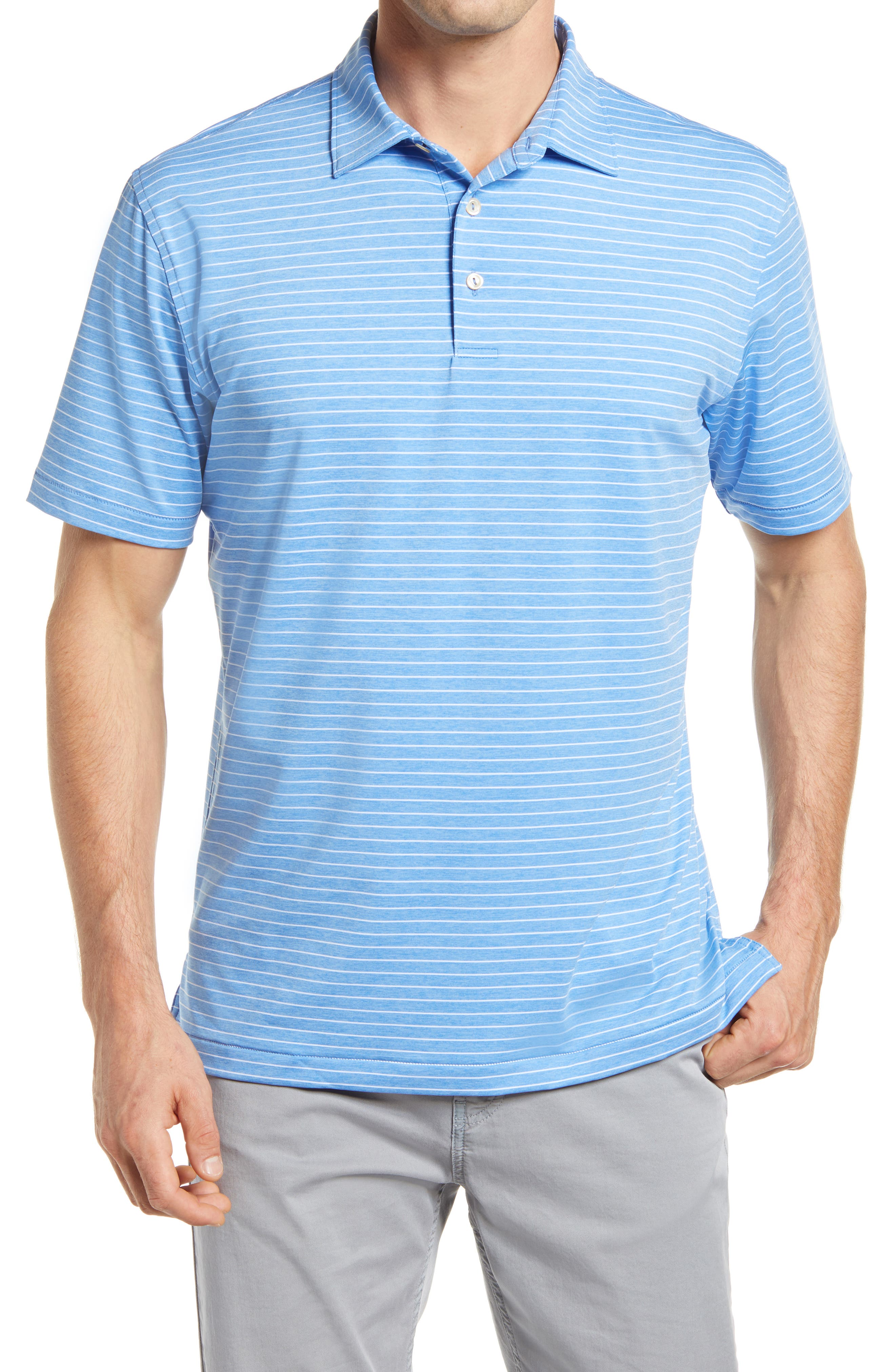 Stretchy, moisture-wicking fabric keeps up with you from links to lunch in a striped golf polo that resists odors and blocks harmful UV rays in any activity. Style Name: Peter Millar Crafty Pinstripe Performance Polo. Style Number: 6089769. Available in stores.