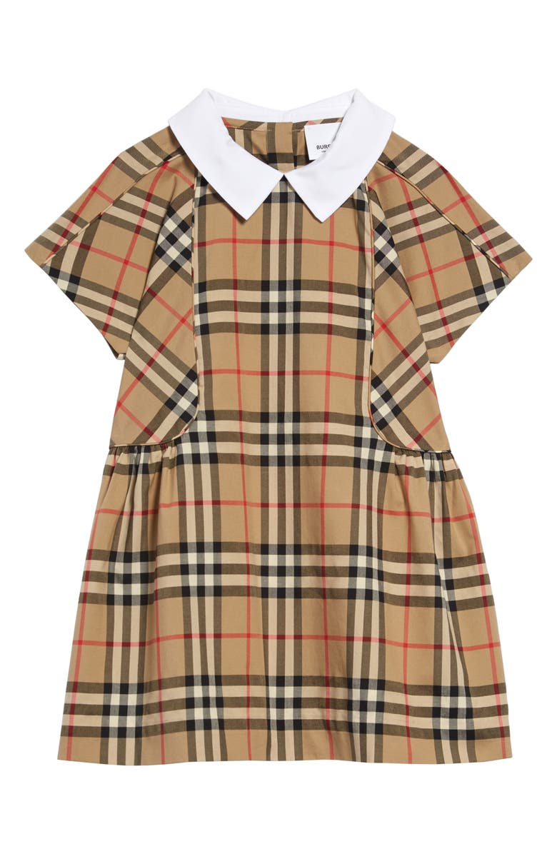 BURBERRY Robyn Archive Check Dress, Main, color, ARCHIVE BEIGE