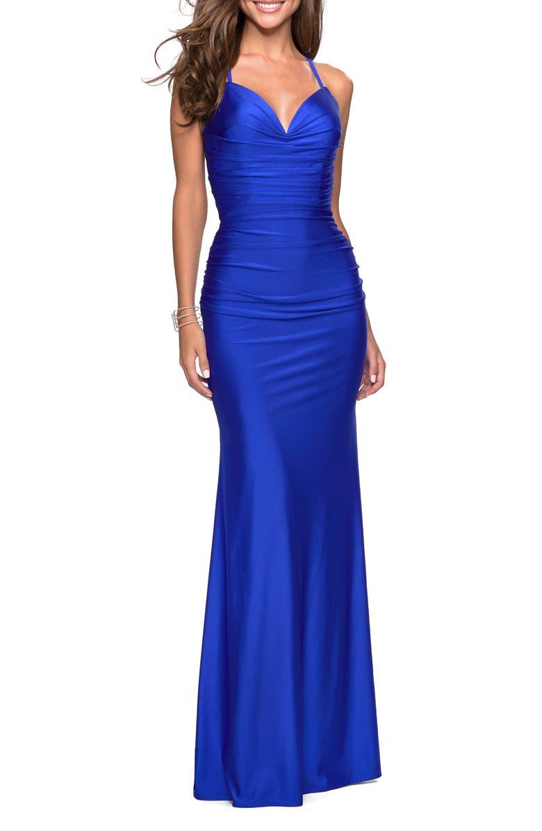 LA FEMME Strappy Back Ruched Trumpet Gown, Main, color, SAPPHIRE BLUE