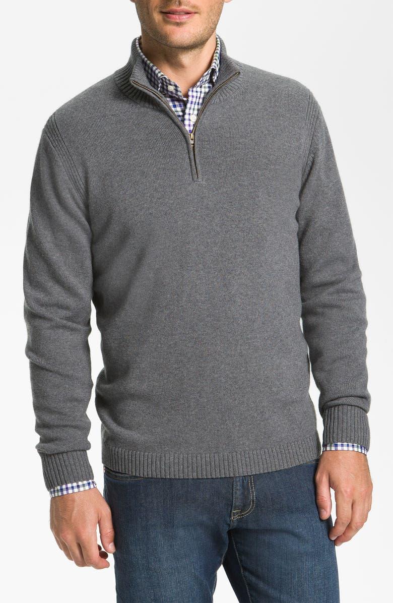 F. FAÇONNABLE Façonnable Half Zip Classique Fit Merino Wool Sweater, Main, color, 023