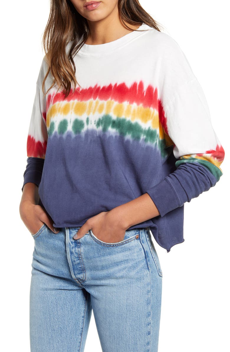 DAYDREAMER Rainbow Tie Dye Long Sleeve Tee, Main, color, 600