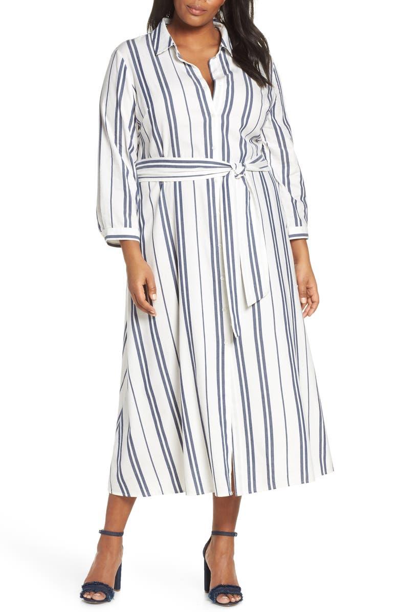 VINCE CAMUTO Valiant Stripe Midi Shirtdress, Main, color, PEARL IVORY