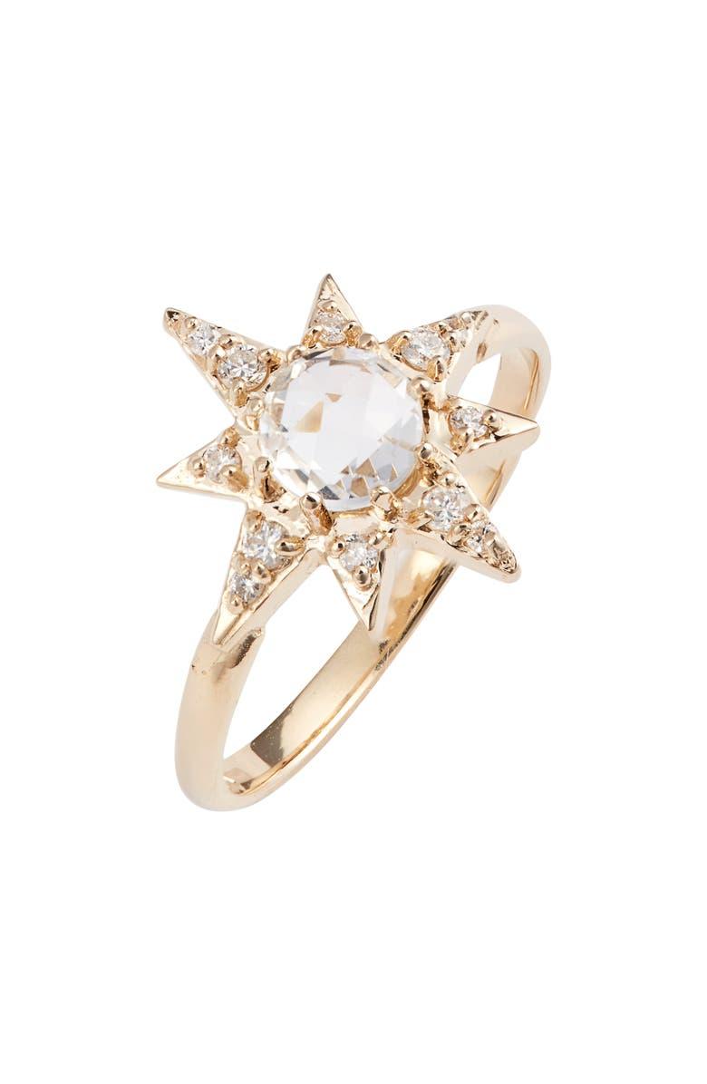 ANZIE Starburst Topaz & Pavé Diamond Ring, Main, color, GOLD/ TOPAZ