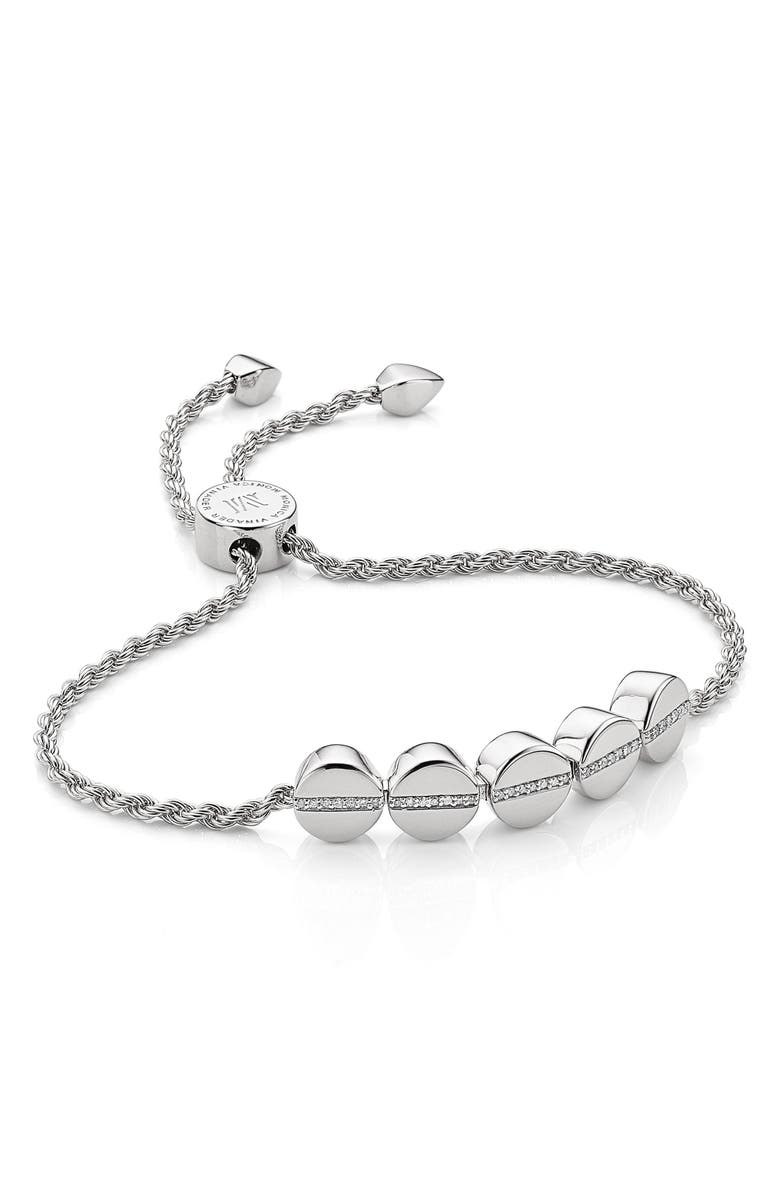 MONICA VINADER Engravable Diamond Beaded Friendship Bracelet, Main, color, SILVER/ DIAMOND