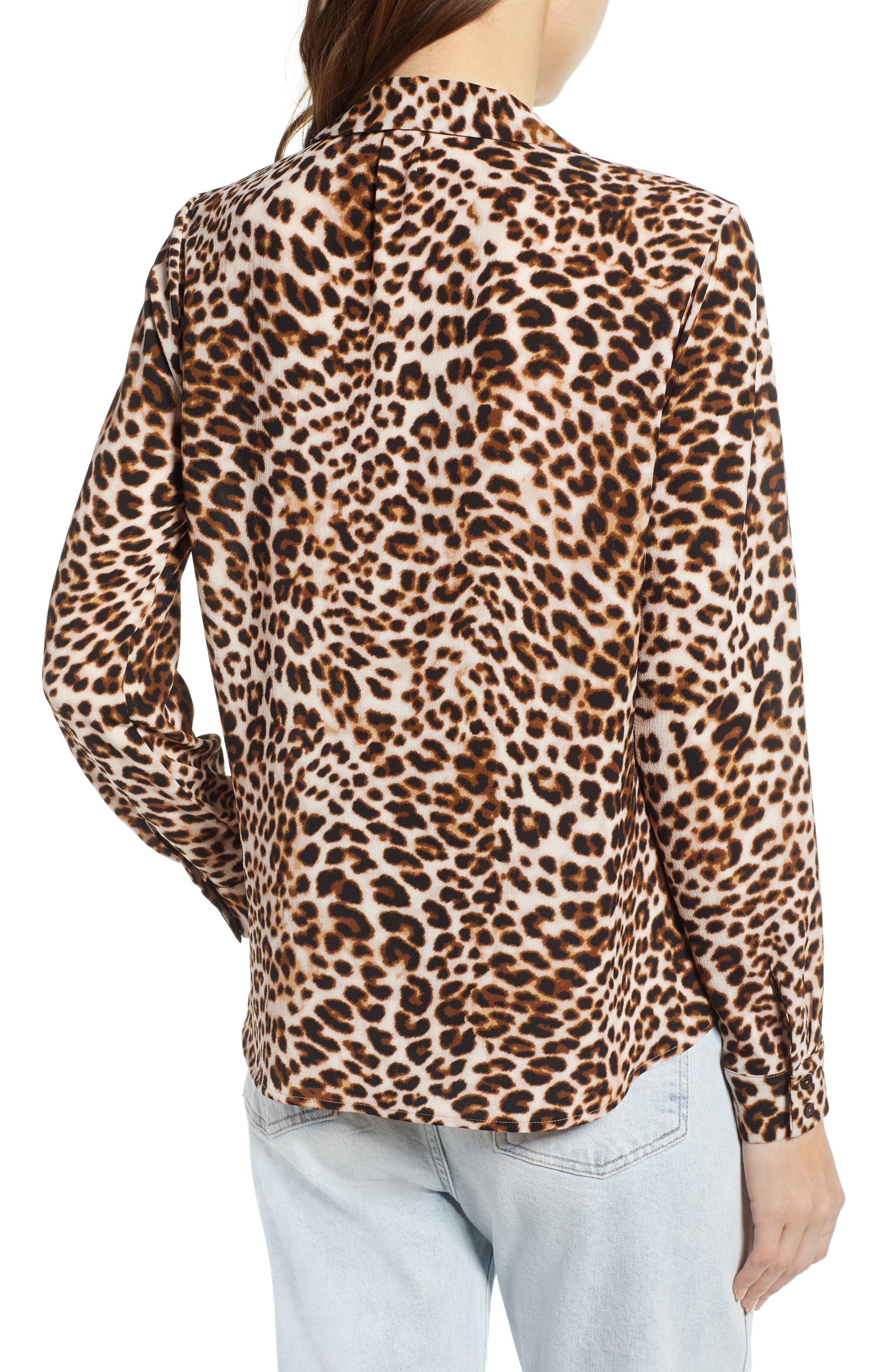 ,                             Patterned Drape Front Blouse,                             Alternate thumbnail 2, color,                             LEOPARD PRINT