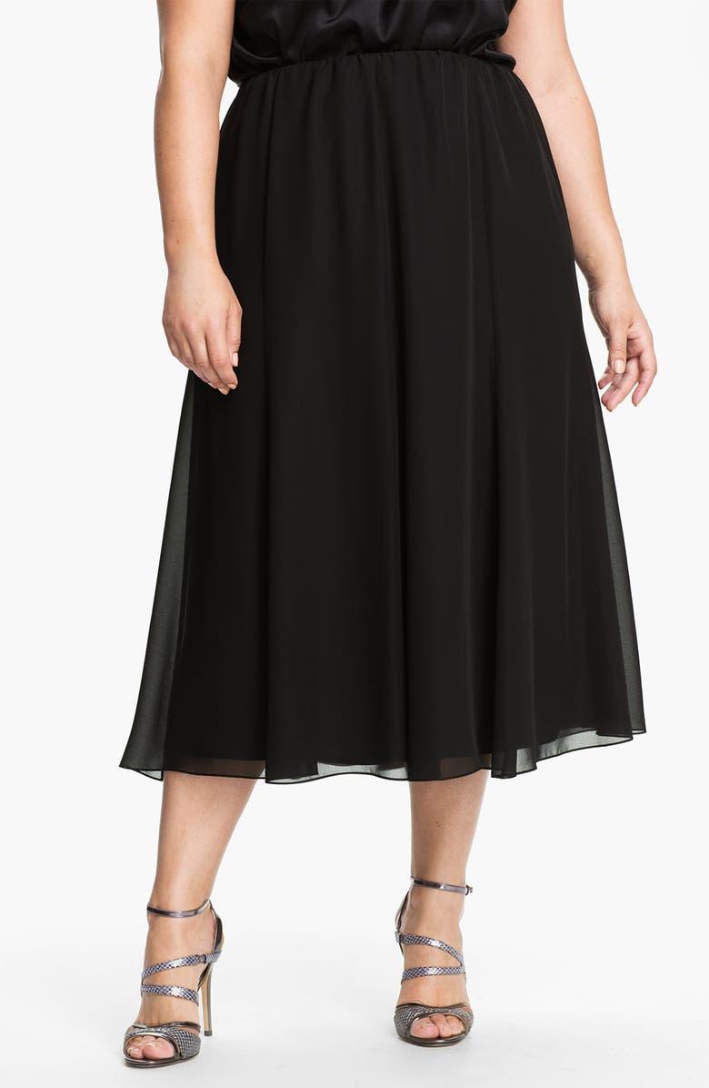ALEX EVENINGS Chiffon Skirt, Main, color, BLACK