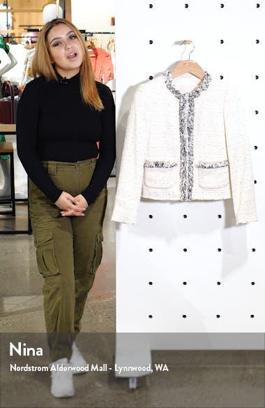 Fringe Detail Cotton Blend Tweed Jacket, sales video thumbnail