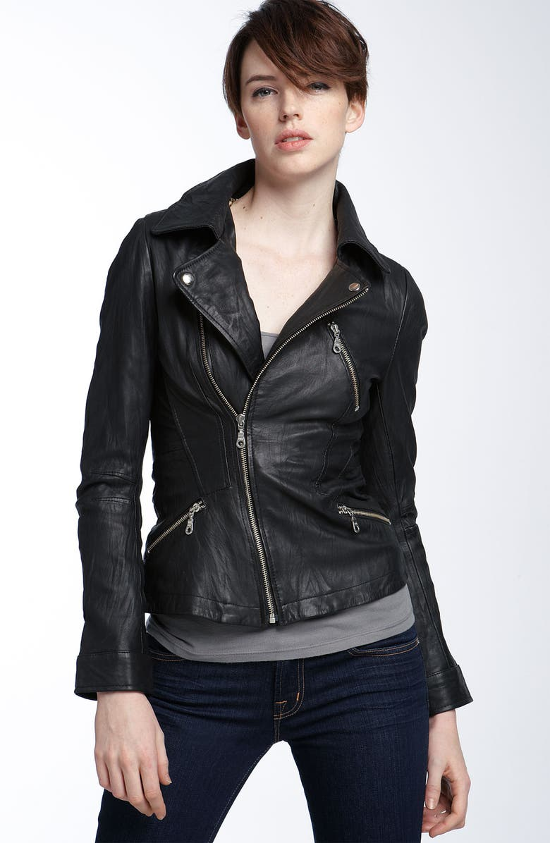 KENNA-T ESSENTIAL Kenna-T Washed Leather Motorcycle Jacket, Main, color, 001