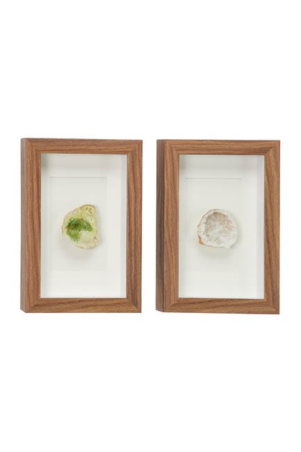 Image of Willow Row Boho Style Green & White Crystal Geode Shadow Box Wall D  cor in Rectangular Wood Frames - Set of 2