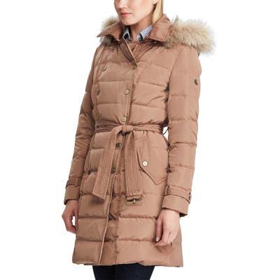 Lauren Ralph Lauren Faux Fur Trim Puffer Jacket, Brown