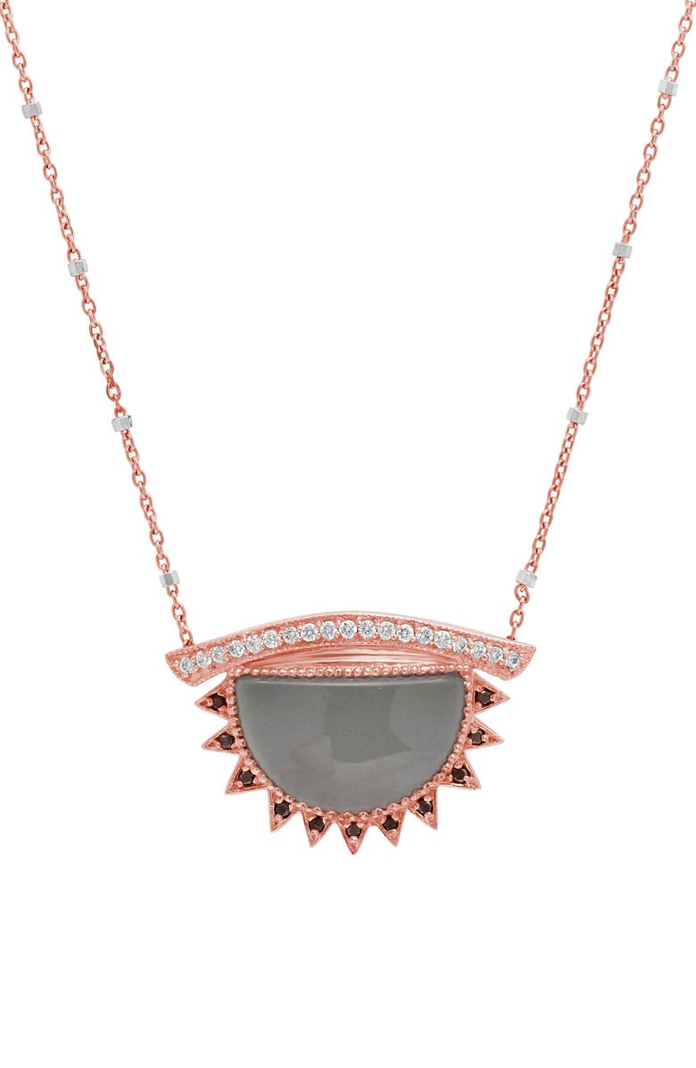 CONGÉS Inspire & Calm Large Aquamarine Third Eye Necklace, Main, color, ROSE GOLD