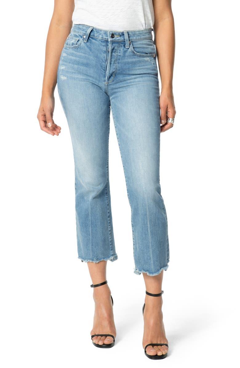 JOE'S Flawless - The Callie High Waist Destructed Hem Crop Bootcut Jeans, Main, color, MARIE