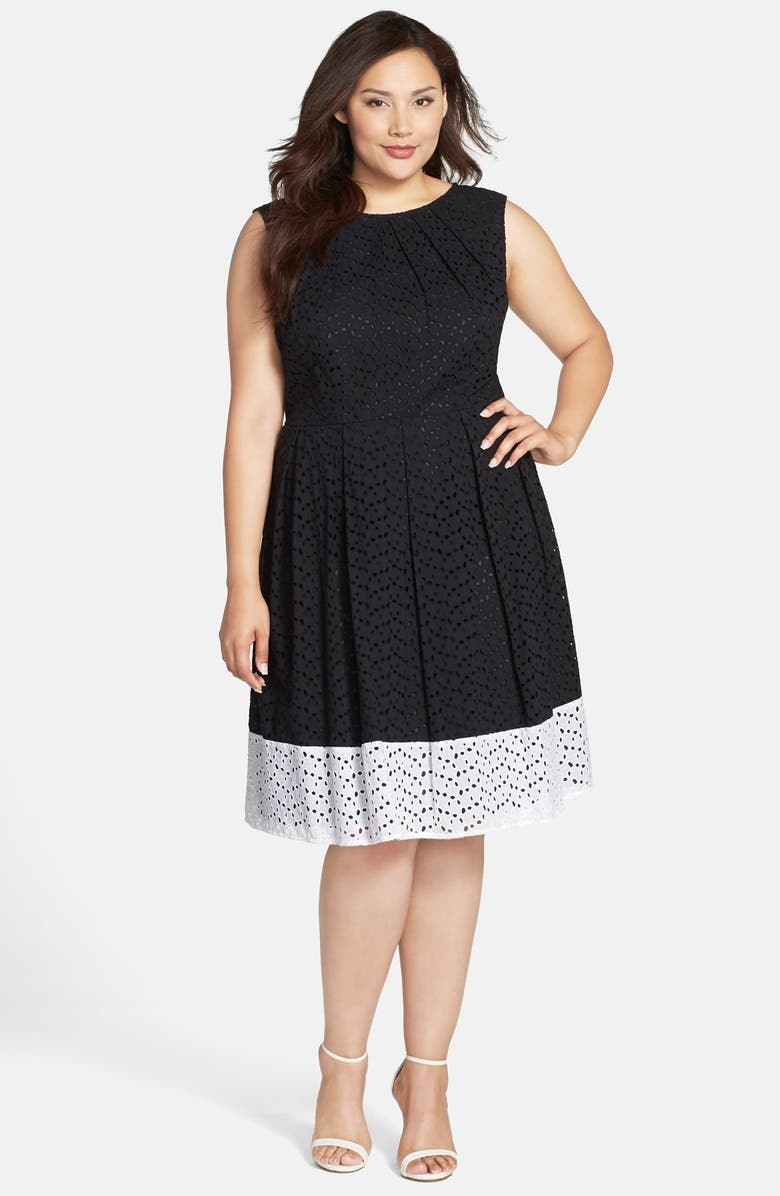 Colorblock Eyelet Cotton Fit & Flare Dress