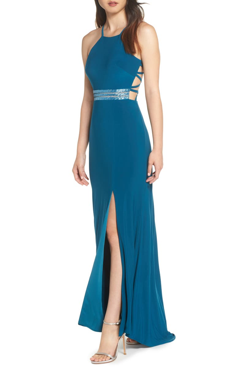 MORGAN & CO. Beaded Mesh Halter Gown, Main, color, 300