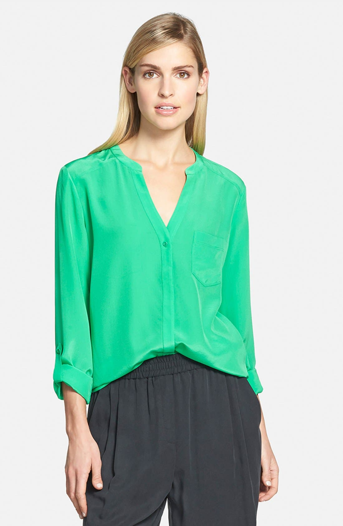 ,                             Collarless Silk Blouse,                             Main thumbnail 41, color,                             320
