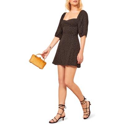Reformation Kopa Sweetheart Neck Minidress, Black